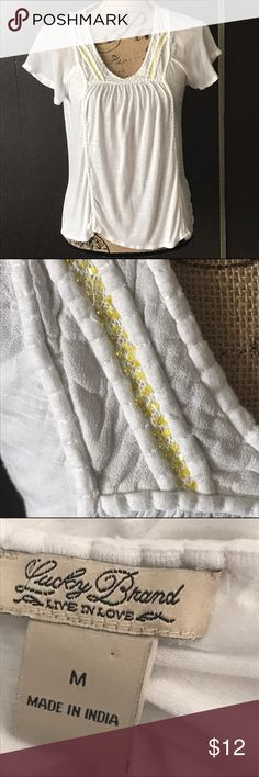 Lucky Brand blouse 🍀 White blouse with yellow beading. Great condition! By Lucky Lucky Brand Tops Blouses