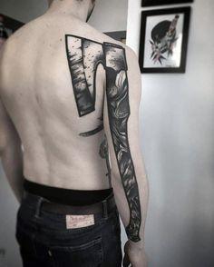 Full Back Of Arm Amazing Mens Axe Tattoo Designs Skull Tattoos, Body Art Tattoos, Cool Tattoos, Tatoos, Hold Fast Tattoo, Tattoo Pierna, Symbole Viking, Knight Tattoo, Natur Tattoos