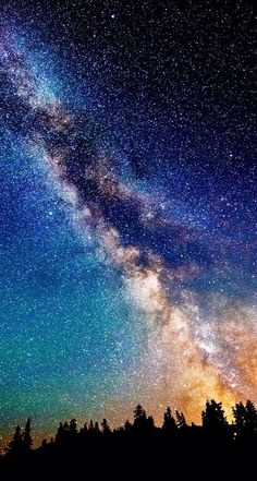 nature sky night scenic view sci fi science fiction stars galaxy milky way dust color trees mountain forest Night Sky Stars, Night Skies, Night Light, Beautiful Sky, Beautiful World, Beautiful Moments, Night Photography, Nature Photography, Landscape Photography