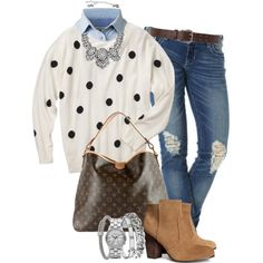 Yummy polka dots! I would preppy it up with spectator flats instead of the boots.