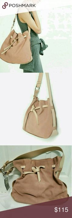 Nwt Zara learner bucket bag Zara real leather /suede slouchy big bucket purse/ tote Nude/ pinkish mauve color  Beautiful stunning bag i love it but i  need a smaller bag Zara Bags Shoulder Bags