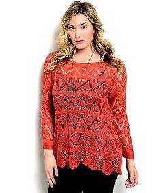 5a1f4681e6d39c Zenobia Women s Sweater Crocheted Lace Tunic Pullover Asymmetrical Hem  Rust. Size B W L Size B W L