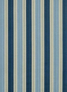 "Spotswood Stripe Porcelain.  Williamsburg Colonial fabric. 100% cotton up the roll stripe 6.5"" repeat. 54"" wide."