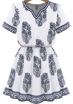 Buy White V Neck Short Sleeve Floral Dress from abaday.com, FREE shipping Worldwide - Fashion Clothing, Latest Street Fashion At Abaday.com