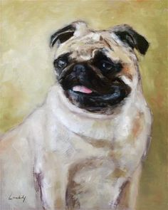 "Daily Paintworks - ""Pug"" - Original Fine Art for Sale - © Christy Lovelady"