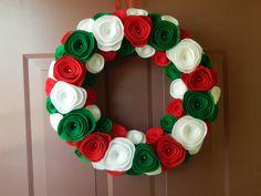 Christmas Wreath - Holiday Wreath - Red, White and Green Christmas Felt Wreath - 16 inch. $45.00, via Etsy.