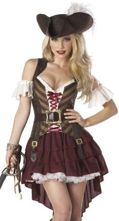 Cool California Costumes Women's Sexy Swashbuckler Pirate Costume,  Pirate costume featuring feathered hat, detachable ruffle sleeves, sleeveless top with lace-up bodice, high/low skirt, and belt with skull buckle Sword, bracelet, shoes, and white pettiskirt not included, http://teensdepot.com/product/california-costumes-womens-sexy-swashbuckler-pirate-costume/