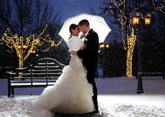 Snow Wedding Photography with Romantic Lighting Decoration