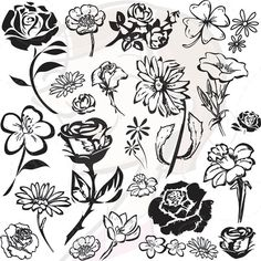 Vintage Flower Clip Art Clipart Silhouette Scrapbooking Supplies Digital Stamps Embellishment Rose Daisy Buttercup DIY Invitations 10237. $5.30, via Etsy.