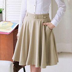 Falda de color sólido plena de la mujer con cinturón – EUR € 23.09