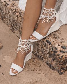 18 Beach Wedding Shoes That Inspire ❤ beach wedding shoes white wedge comfortable forever soles #weddingforward #wedding #bride Wedding Wedges, Beach Wedding Shoes, Wedding Boots, Wedding Bride, Bridal Shoes Wedges, Outdoor Wedding Shoes, Wedding Sandals For Bride, Wedge Wedding Shoes, Beach Shoes