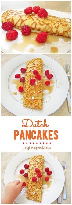 Dutch Pancakes – Joy Love Food A cross between a French crepe and an American pancake, thin yet dense, Dutch Pancakes (Pannenkoeken) are wonderful for a family breakfast on weekend mornings. Dutch Pancakes, Pancakes Easy, Breakfast Pancakes, Pancakes And Waffles, Vegan Breakfast, Buckwheat Pancakes, Dutch Recipes, Cooking Recipes, Crepe Suzette