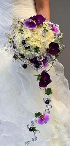 Purple cascading bouquet.