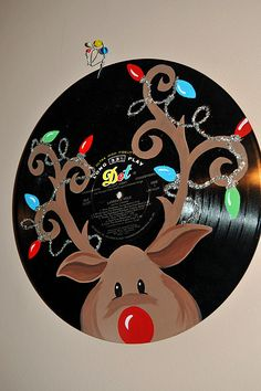 Handpainted Rudolph Vinyl Christmas Music Record Album. $27.00, via Etsy.