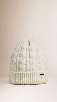 Burberry Cable-knit beanie in a wool cashmere blend Ribbed-knit turn-up hem. Discover more accessories at Burberry.com