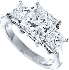3 carat f vs2 princess cut real diamond engagement ring diamond ring three 3 stone past - Real Diamond Wedding Rings