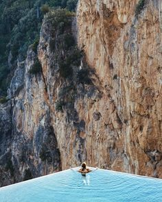 Swimming to the edge on the Amalfi Coast.