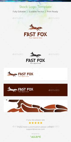Fast Fox Stock Logo Template — Vector EPS #clip-art #messenger • Available here → https://graphicriver.net/item/fast-fox-stock-logo-template-/9161504?ref=pxcr