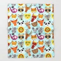 Throw Blanket featuring pattern with funny cute animal face on a blue background by EkaterinaP