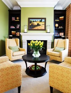 Unique-Cream-Patterned-Armchairs-Combined-with-Black-Rounded-Coffee-Table-Decorated-with-Yellow-Flowers-Competing-Elegant-Living-Room : Inspirational Interior and Exterior Home Design Ideas – TheMakaroni.com