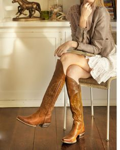 Boots are everything...Ariat Cowboy Boots Women, Cowgirl Boots Ariat, Women's Western Boots, Brown Cowgirl Boots, Brown Knee High Boots, Western Chic, Hippy Chic, Fashion Boots, Cowgirl Fashion