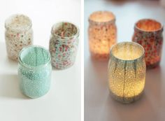 diy fabric votive jars - think I would modify though and put fabric on outside up to jar rim, then decorate rim with ribbon or something else, so I could use any type candle inside