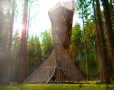 Proposal for a wooden viewing tower near Bruneck, northern Italy. By: Architects Anton Pramstrahler and Alex Niederkofler.