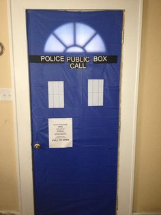 Tardis Front door. Dr. Who party, blue plastic table cloth and a few mins on the printer.