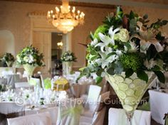 Lime green and ivory wedding centrepieces in martini vases. here some ideas for your wedding table flowers. Daisy Wedding Flowers, Wedding Flower Guide, Neutral Wedding Flowers, Romantic Wedding Flowers, Wedding Table Flowers, Fall Wedding Colors, Wedding Bouquets, Ivory Wedding, Wedding Ideas