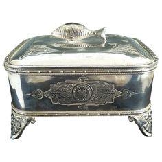 Antique silverplate  sardine box server Wilcox Silver 1890s