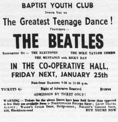 """""""Baptist Youth Club invite you to The Greatest Teenage Dance! Featuring The Beatles"""" And a buffet. The Beatles Live, Les Beatles, Beatles Songs, Beatles Photos, Rock Posters, Concert Posters, Music Posters, Love Me Do, Still In Love"""