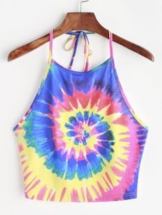 Top de halter con estampado tie dye - multicolor