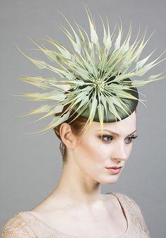 Rachel Trevor Morgan Millinery SS 2016 | R1694 - Green silk taffeta pillbox with tipped feather flower