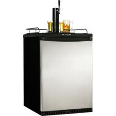 Danby 5.8 cu ft Beer Dispenser ; Cooler for 1/2 and 1/4 Kegs with Stainless Door, Silver