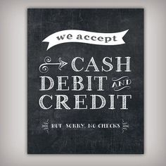 Forms of Payment Accepted Chalk Sign - 5x7, 8x10, 11x14, and 16x20 Printable .JPG Files Included! - INSTANT DOWNLOAD. Booth IdeasDisplay Ideas Craft ...