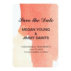 red abstract watercolor save the date cards