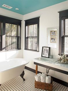 Extreme Home Makeover House - traditional - bathroom - jacksonville - Hansen Architects, P. Different look with painted black trim around windows and tiffany blue ceiling and white walls. Black White Bathrooms, Black And White Tiles, White Walls, Bathroom Black, Bathroom Vintage, Turquoise Bathroom, Victorian Bathroom, Neutral Walls, Vintage Tile