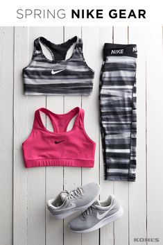 Spring workouts call for a workout gear refresh from your favorite fitness brand. Featured product includes: Nike pink sports bra, striped sports bra, striped capri leggings and athletic shoes. Get fit with Kohl's.