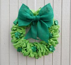 The wreath is made with a lime green burlap. It is adorned with a green burlap bow. It has green glittered shamrocks and beads. It is on a wire wreath that is ready to be hung. It will look great for St. Patricks Day.  It is approximately 22 inches in diameter.  Each order is made and shipped by me personally. If you have any questions about your order please do not hesitate to contact me via my Etsy store. I want you to be completely satisfied with your order.
