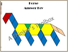 Pattern Blocks Farm Animal Puzzles by A Thinker's Toolbox #math #geometry #science #centers #fun #horse