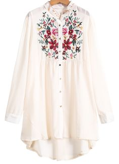 Apricot Long Sleeve Embroidered Dipped Hem Blouse - Sheinside.com
