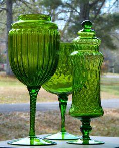 Vintage Empoli Glass Apothecary Jar Goblet Vase Trio (3) Display Italian Murano