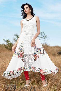 Aishwarya Flared White Georgette Kurti @Looksgud.in #Aishwarya, #Flared, #White, #Georgette, #Kurti