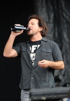 Eddie Vedder … wine | Pearl Jam | The National Bowl in Milton Keynes 7/11/14