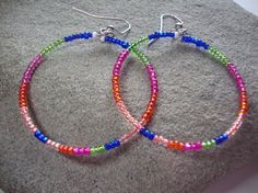 Colorful Beaded Hoop Earrings Party and by KidsAtHeartBeadShop