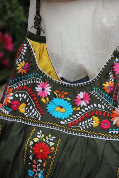 Olive and multi colored hand  Embroidered Huipil Boho by CasaOtomi