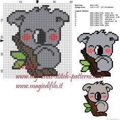 Cute Koala X-stitch pattern Mini Cross Stitch, Cross Stitch Animals, Cross Stitch Charts, Cross Stitch Designs, Cross Stitch Patterns, Learn Embroidery, Cross Stitch Embroidery, Hand Embroidery, Beading Patterns