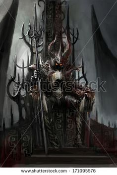 tatoos devil in thron chair | Demon Stock Photos, Illustrations, and Vector Art