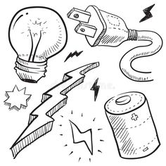 Electricity and power illustration. Doodle style electricity or power vector ill , Drawing Sketches, Art Drawings, Doodles, Illustration, Hippie Art, Drawing For Kids, Doodle Art, Light Bulb, Tattoo Ideas