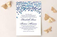 """China Plate"" - Floral & Botanical Wedding Invitations in Royal Blue by Ariel Rutland."